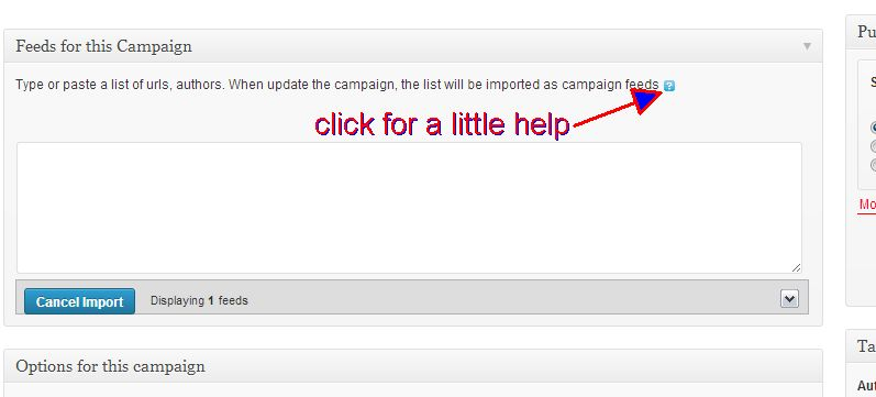 How can import a list of feeds into a campaign ?